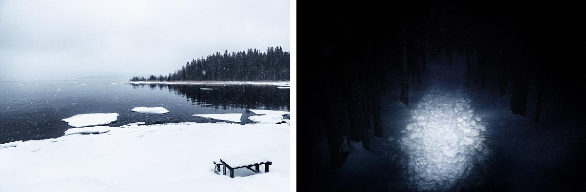 Tärnättholmarna / Vandring längs led i mörker