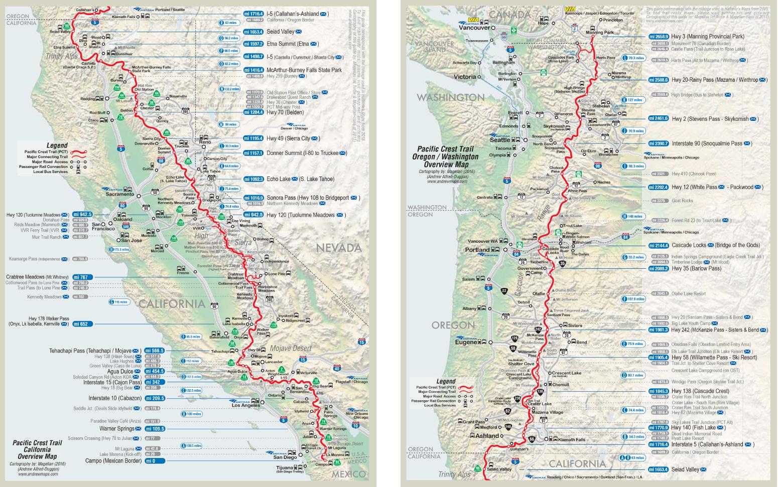 PCT översiktskarta från https://www.pctmap.net/maps/